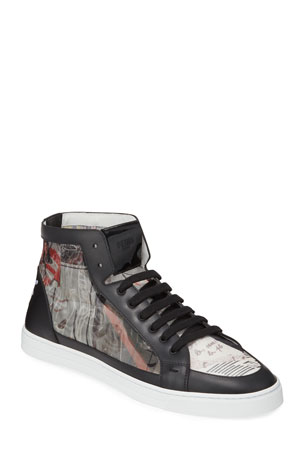 Fendi Men's Karl Lagerfeld Graphic High-Top Sneakers