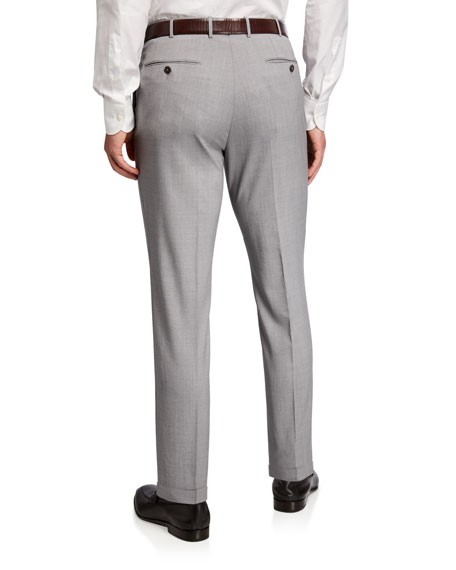Image 2 of 3: Ermenegildo Zegna High Performance Regular-Fit Wool Flannel Flat-Front Trousers