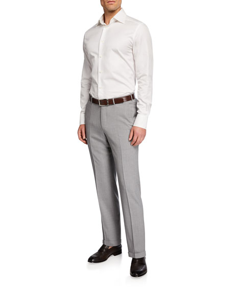Image 3 of 3: Ermenegildo Zegna High Performance Regular-Fit Wool Flannel Flat-Front Trousers