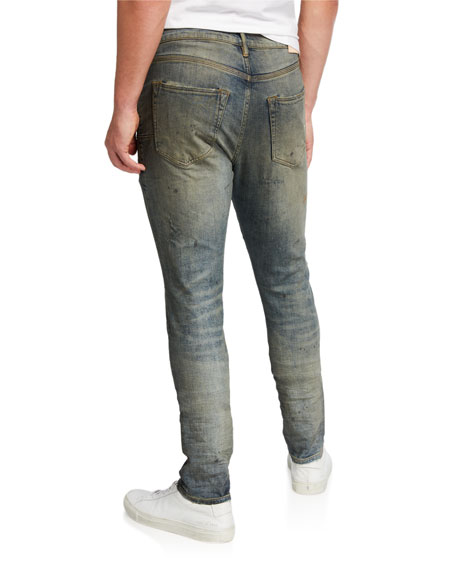 PURPLE Men's Ripped-Knee Slim Jeans with Raw Edges
