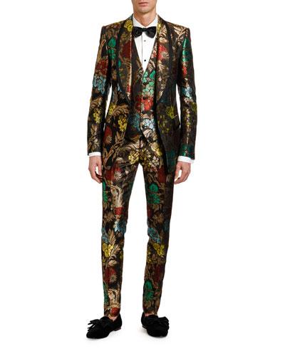 Men's Multi-Floral Jacquard Three-Piece Evening Suit