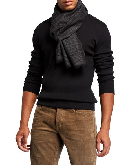 TOM FORD Men's Plaid Fringed-End Wool Scarf