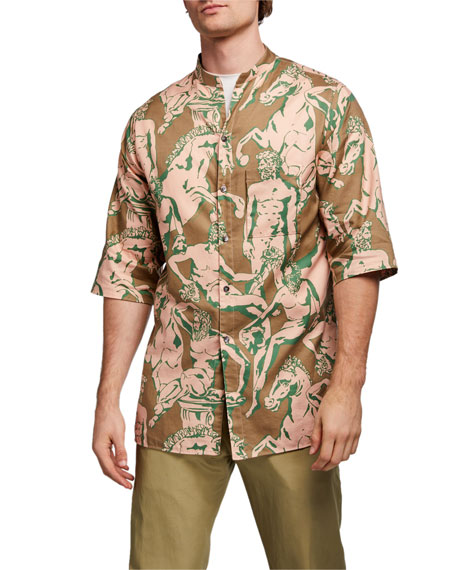 Image 3 of 5: Salvatore Ferragamo Men's Graphic-Print Short-Sleeve Sport Shirt