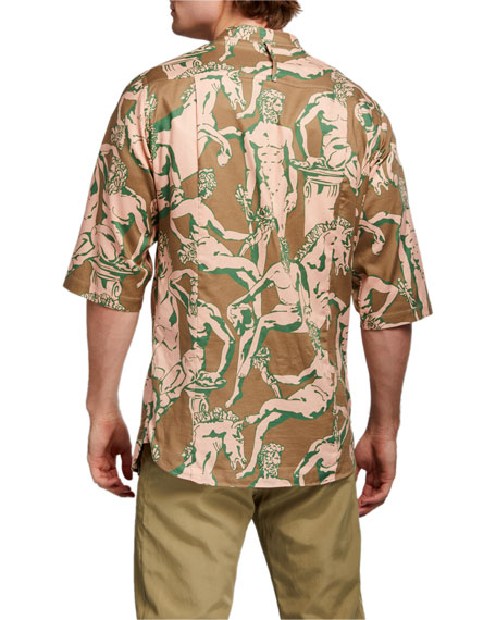 Image 4 of 5: Salvatore Ferragamo Men's Graphic-Print Short-Sleeve Sport Shirt