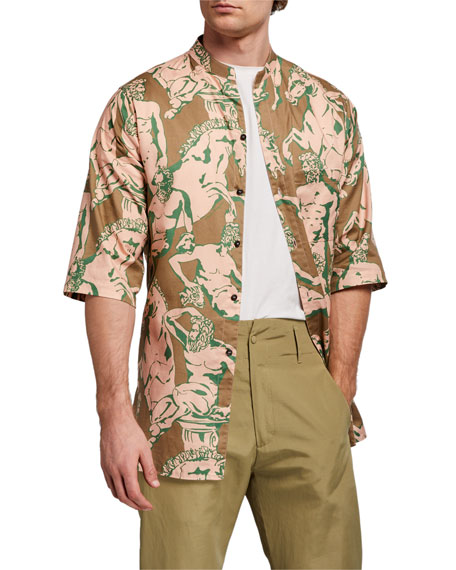 Image 1 of 5: Salvatore Ferragamo Men's Graphic-Print Short-Sleeve Sport Shirt