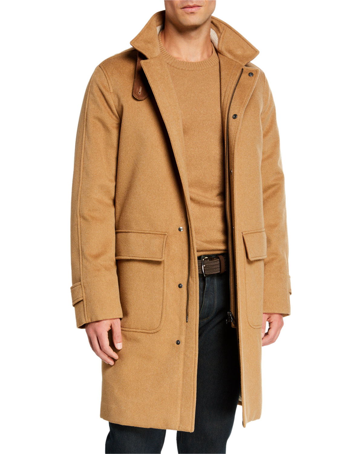 Loro Piana Men's Livingstone Cashmere Topcoat with Suede Collar