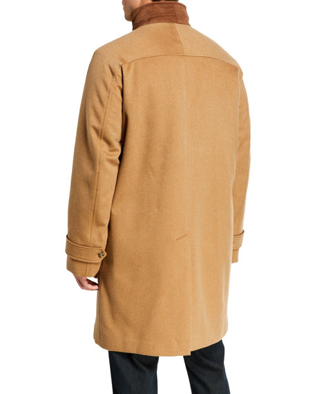 Image 3 of 3: Loro Piana Men's Livingstone Cashmere Topcoat with Suede Collar
