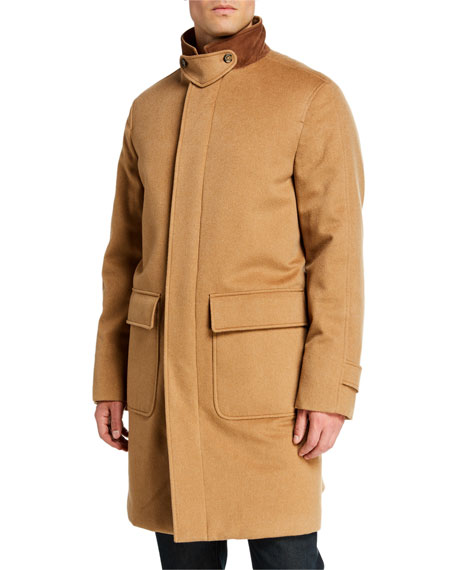 Image 2 of 3: Loro Piana Men's Livingstone Cashmere Topcoat with Suede Collar