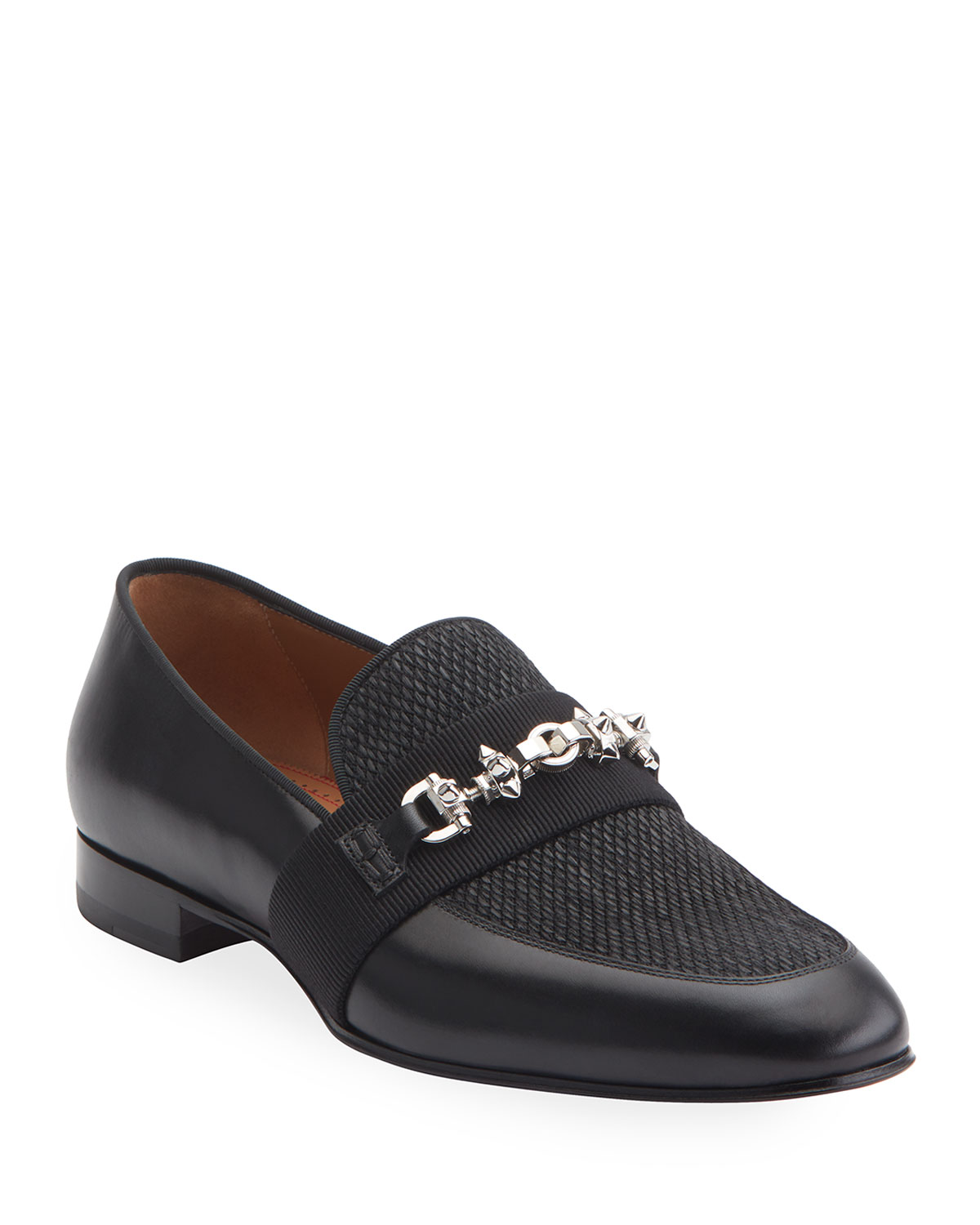 Panamax Spiked Leather/Fabric Loafers