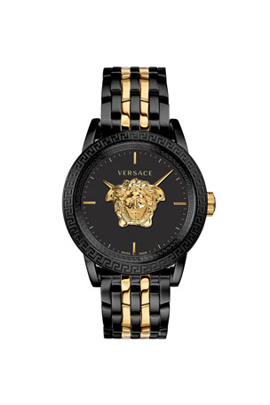 Versace Men's 43mm Palazzo Empire Watch, Black/Yellow Gold