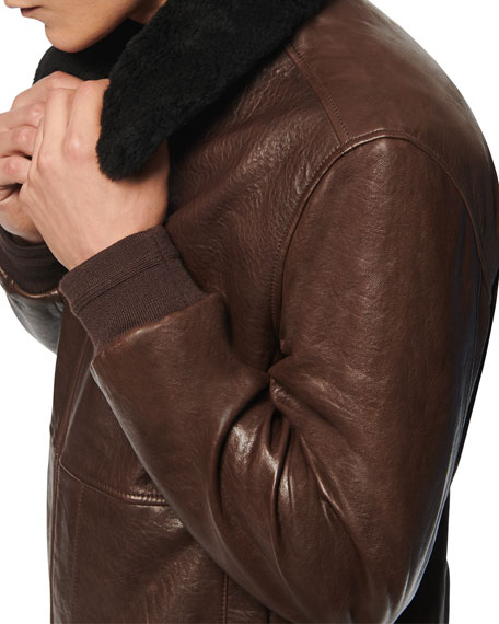 Image 4 of 4: Andrew Marc Men's Cuthbert Shearling-Trim Leather Jacket