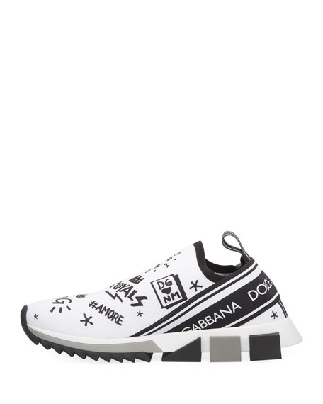 Dolce & Gabbana Men's Sorrento Graffiti Knit Trainer Sneakers