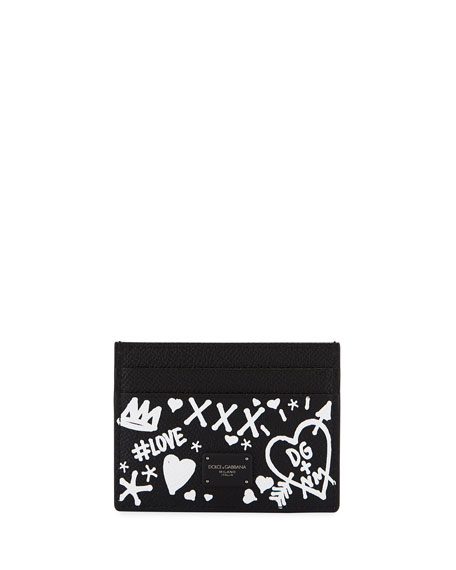 Dolce & Gabbana Men's Graffiti Leather Card Case