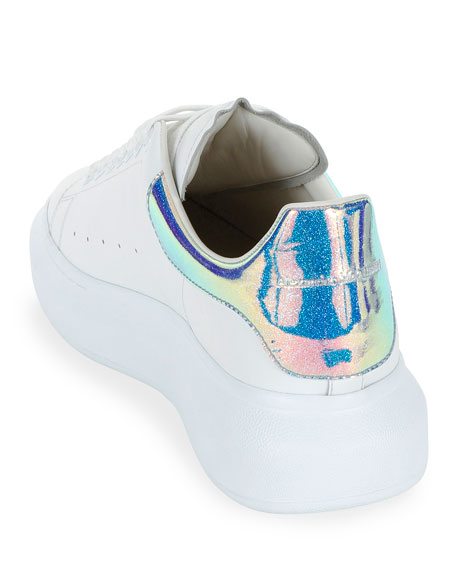Alexander McQueen Men's Leather Platform Sneakers with Iridescent Back