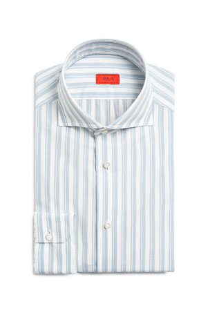 Isaia Men's Double-Stripe Cotton Sport Shirt