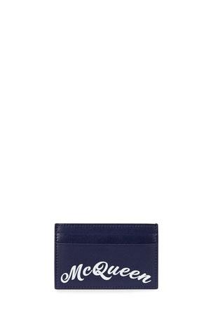 Alexander McQueen Men's Script Logo Leather Card Case