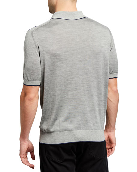 Image 2 of 2: Stefano Ricci Men's Zip-Front Knit Polo Shirt