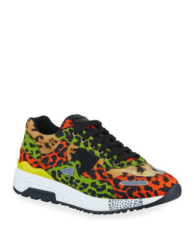 Men's Multicolor Leopard-Print Canvas Sneakers