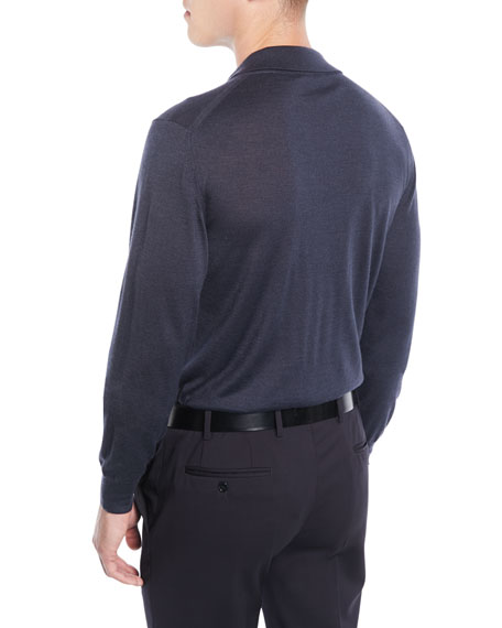 Image 2 of 2: Brioni Men's Wool/Cashmere-Blend Long-Sleeve Polo Shirt