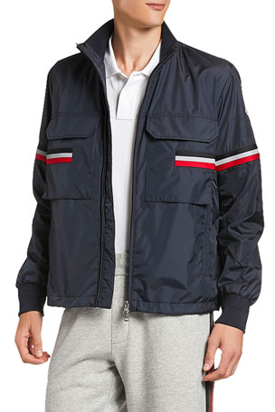 Moncler Men's Seine Reflective Flag Zip-Front Jacket