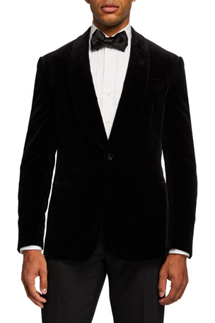 Ralph Lauren Purple Label Men's Solid Velvet Dinner Jacket, Black
