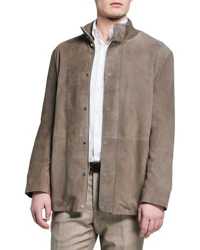 Men's Warren Suede Hidden-Button Jacket