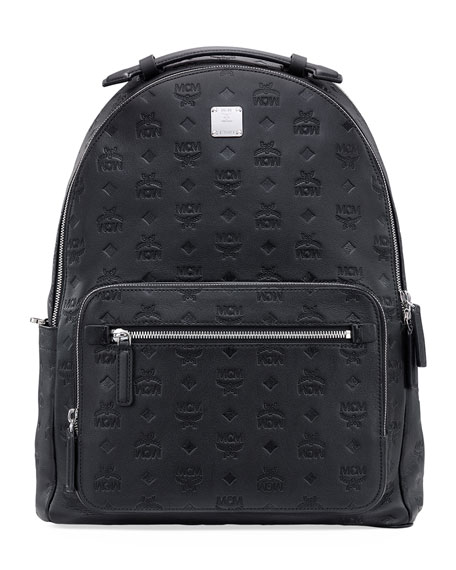 MCM Men's Stark Monogrammed Leather Backpack