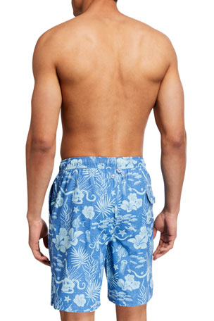 Mens Beach Shorts Palm Tree Night View Solid Board Swim Adjustable Board Shorts