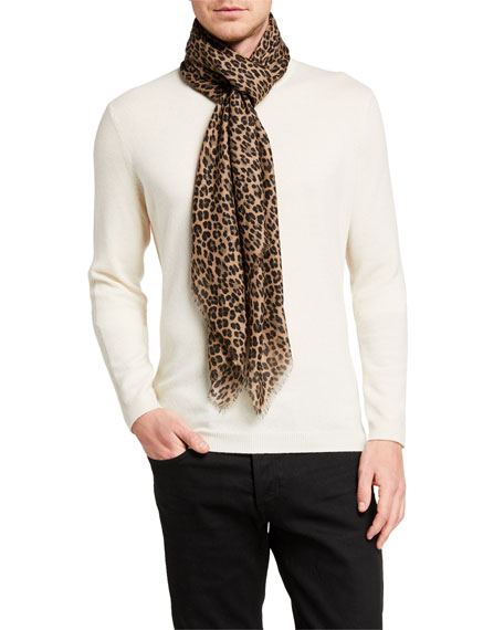 Image 1 of 2: TOM FORD Men's Leopard-Print Wool-Silk Scarf