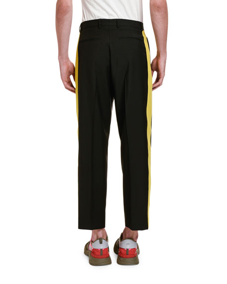 Image 3 of 4: Valentino Men's Side Stripe Ankle Pants