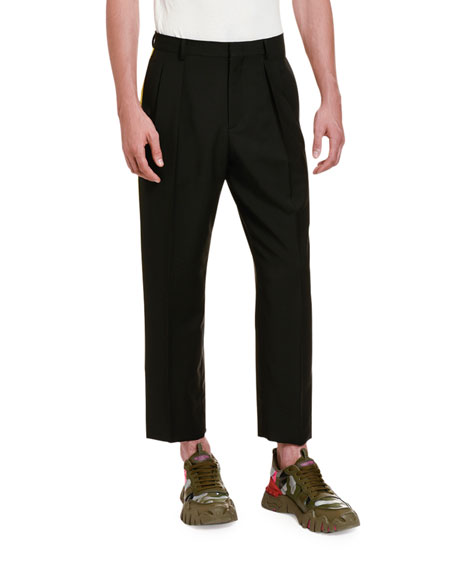 Image 1 of 4: Valentino Men's Side Stripe Ankle Pants