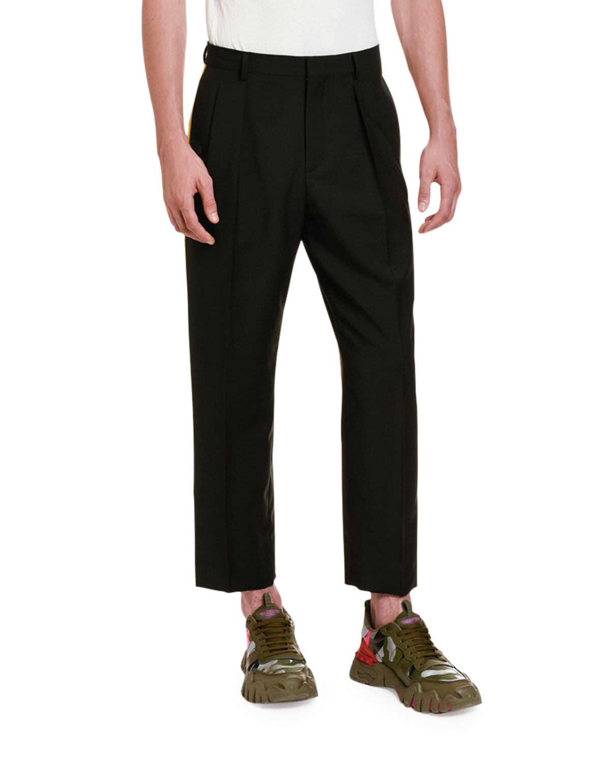Valentino Men's Side Stripe Ankle Pants