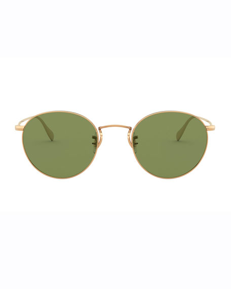 Image 2 of 2: Oliver Peoples Men's Coleridge Round Metal Aviator Sunglasses