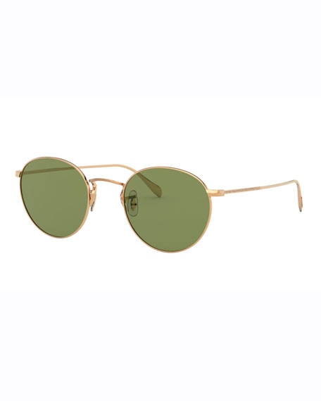 Image 1 of 2: Oliver Peoples Men's Coleridge Round Metal Aviator Sunglasses