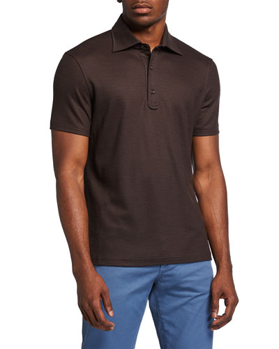 Isaia Men's Grand Pique Wool Polo Shirt