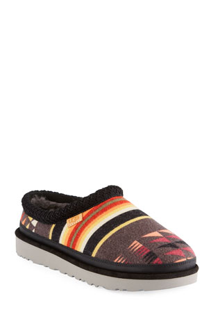 UGG Men's Tasman Woodmont Aztec-Print Wool Slippers