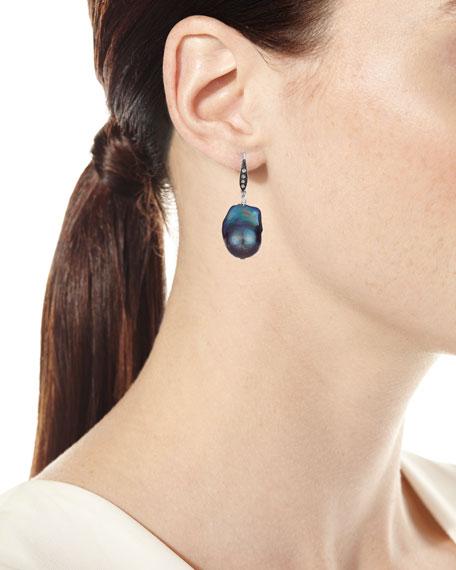 White Sapphire & Baroque Pearl Drop Earrings, Peacock