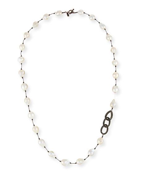 "Baroque Pearl & Black Spinel Link Necklace, 35"""