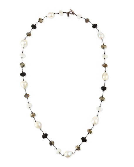 Baroque Pearl & Pyrite Station Necklace, 34""