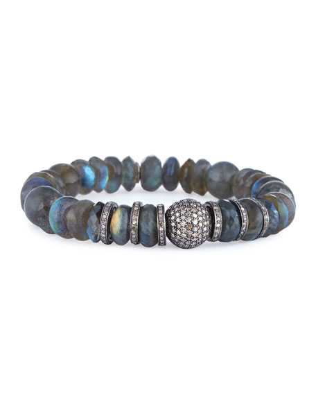 Labradorite Mixed-Bead Bracelet w/ Diamond Ball
