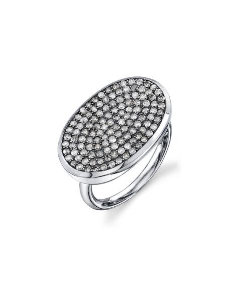 Pave Diamond Oval Ring, Size 7