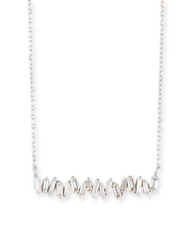 18K White Gold Diamond Baguette Necklace, 0.30 tdcw