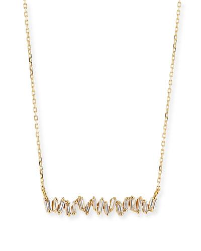 18K Yellow Gold Diamond Baguette Necklace, 0.30 tdcw
