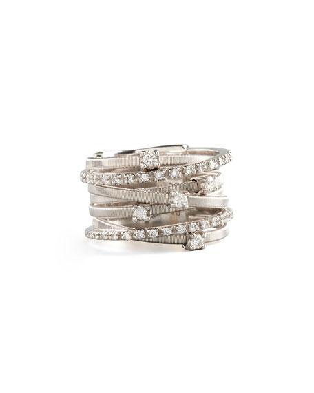 Marco Bicego Goa Seven-Row White Gold Diamond Ring U9tMm