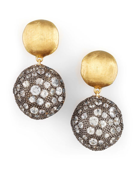 Africa Gold Pave Sapphire Double-Drop Earrings