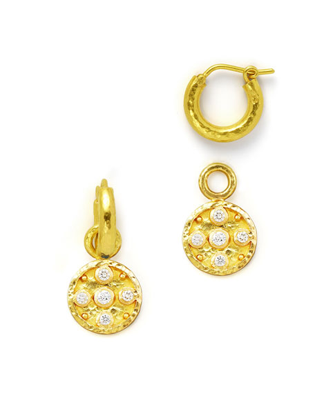 19k Gold Diamond Disc Earring Pendants
