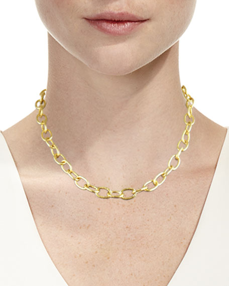 "Volterra 19k Gold Link Necklace, 17""L"