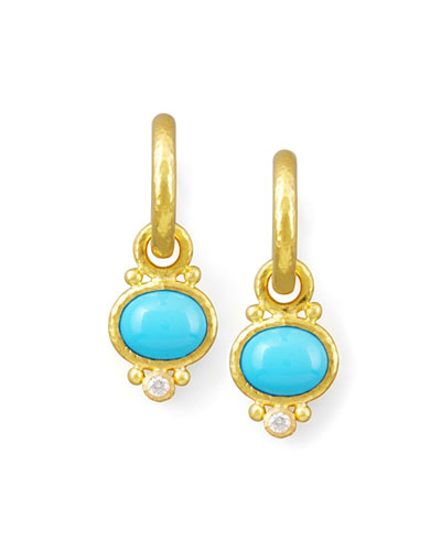 Turquoise & Diamond Earring Pendants