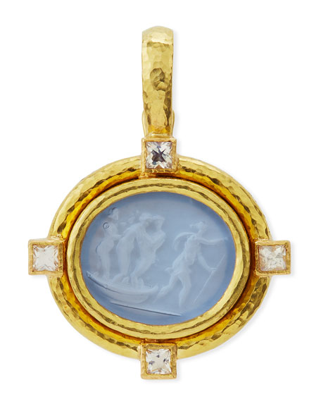 Goddess on Boat Intaglio 19k Gold Pendant, Cerulean