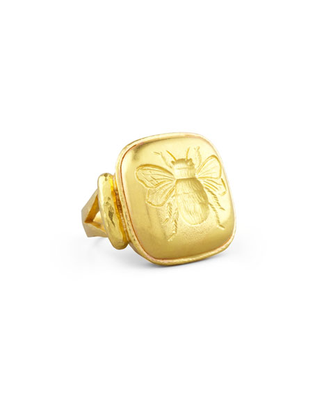 19k Gold Bee Cushion Ring, Size 6